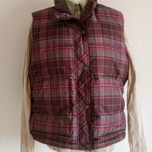 Eddie Bauer plaid premium goose down vest jacket